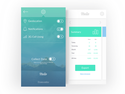 Settings And Summary switch screen stats summary settings colors design user interface ui app