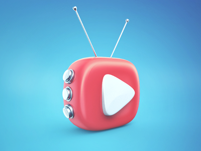 Playme icon light buttons antennas red play render c4d 3d