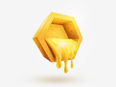 Honeycomb colors icon render sweet sculpt 3d honey