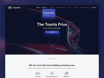 Toyota Highway web design pakistan karachi web ux ui modern minimal toyota landing interface clean