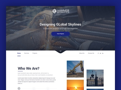 Hammer Geomatics web design pakistan karachi web ux ui modern minimal builder landing interface clean