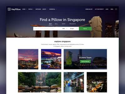 Heypillow landing business web design web design real estate property flat design user interface