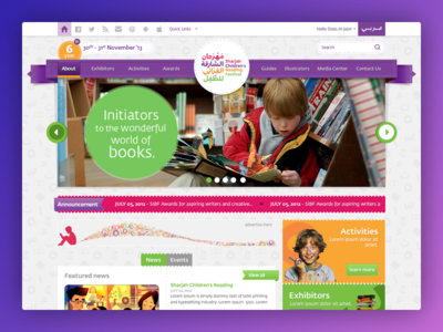 Sharjah Children Book Fair colorfull ux web designer. ui karachi design sharjah uae dubai landing children