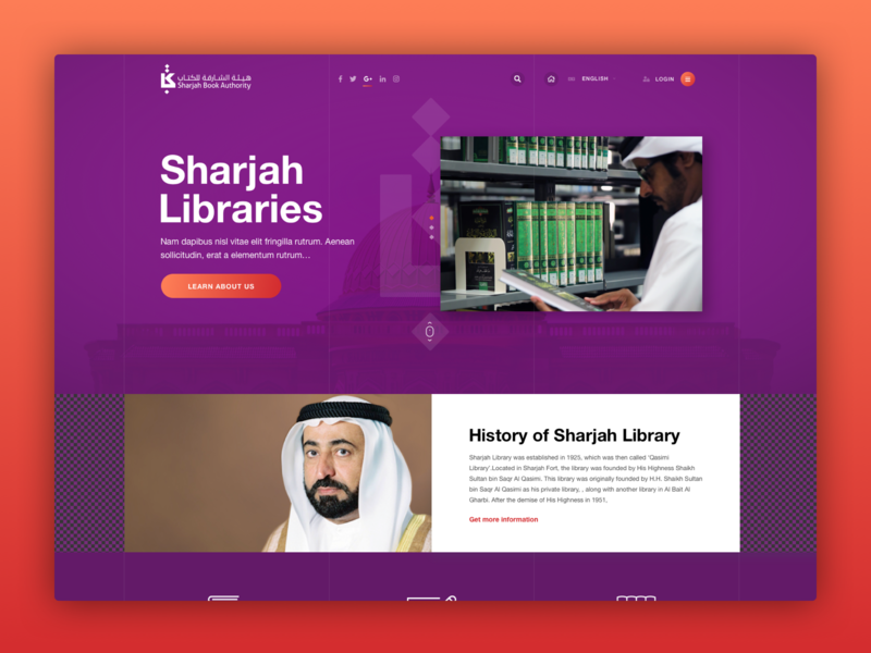 Sharjah Book Authority minimal user interface clean karachi web design landing ui digital design sharjah uae dubai