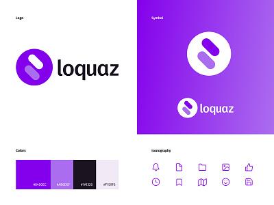 Loquaz — Logo branding icon ui minimal typography illustration flat logo web ui design