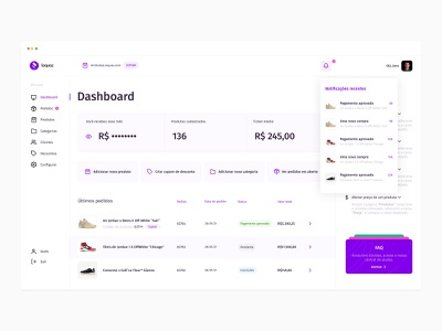 Loquaz — Dashboard plataforma platform ecommerce loquaz webdesign web design desgin flat purple system dash ux design ux ui design ui dashboard