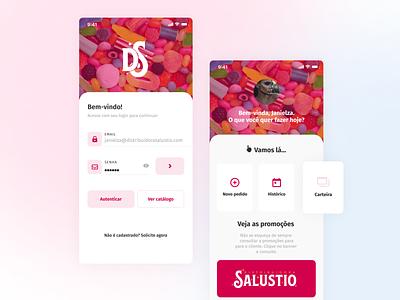APP— Distribuidora Salústio minimal branding logo mobile aplicativo app ux design ux icon design ui design ui flat