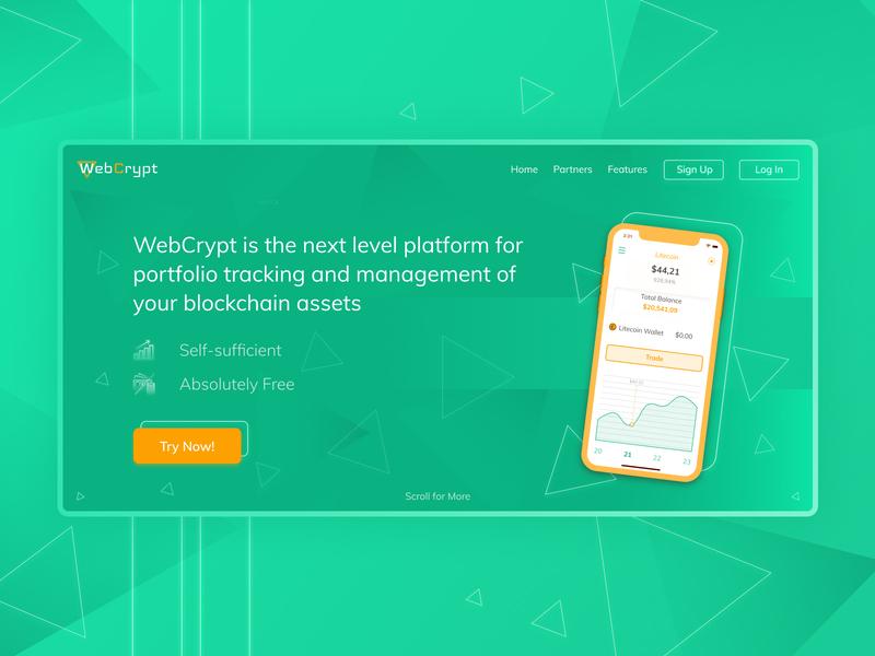WebCrypt cyber bitcoin neo modern neon cryptocurrency green orange ui  ux web-design