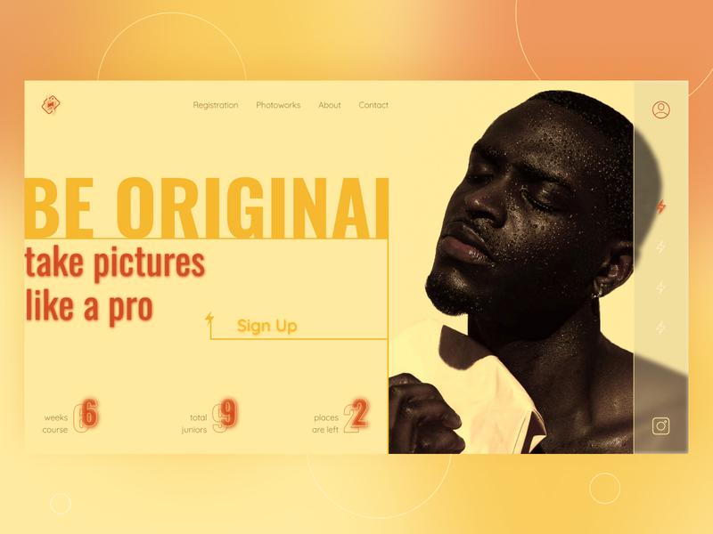 Photo Course webdesign beige lightning matte model photo uiux glow neon blur