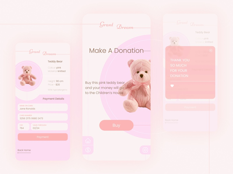 Donation App mobile application appdesign clean uiux minimalism pink children donation charity