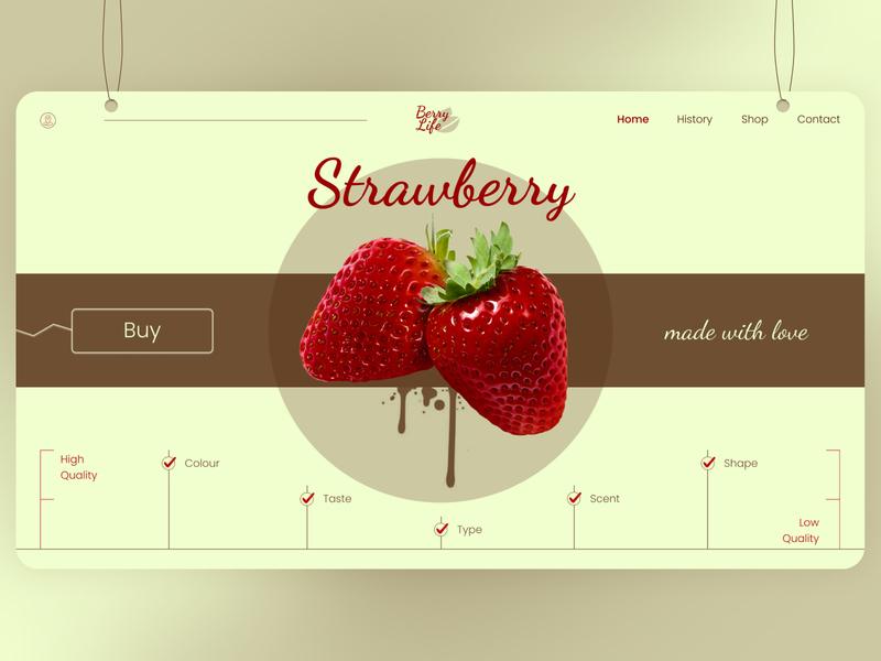 Strawberry shop clean minimalism pastel red strawberry classic retro web design ui  ux