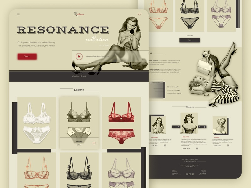 Lingerie - E-commerce clean pinup minimalism web design store lingerie uiux beige vintage retro landingpage ecommerce