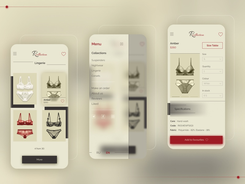 Lingerie - Mob pinup raleway store app application mobile ecommerce lingerie vintage beige minimalism retro clean ui  ux