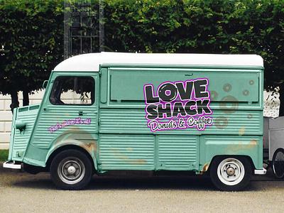 Love Shack Food Truck Mockup 2 restaurant branding coffeeshop coffee cup donut food truck foodie branding