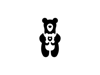 Mother Bear outdoor nature kids care cute baby sling baby carrier simple logo polar bear bear logo cub mom bear icon negative space logo animal