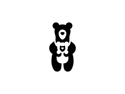 Mother Bear outdoor nature kids care cute baby sling baby carrier simple logo polar bear bear logo cub mom bear icon negative space logo animal