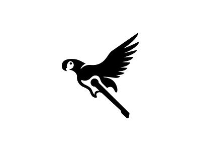 Parrot design creative clever simple combination mark negative space love rock logo unused instrument amazon music quitar parrot macaw bird