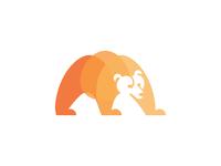 Bear animals forest bear logo layers negative space logo brown bear animal