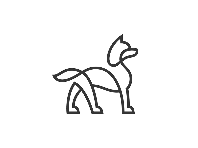 Monoline Dog symbol identity animal logo minimalism linework template project one line vector branding illustration minimal line animal mark logo dog icon dog logo husky dog
