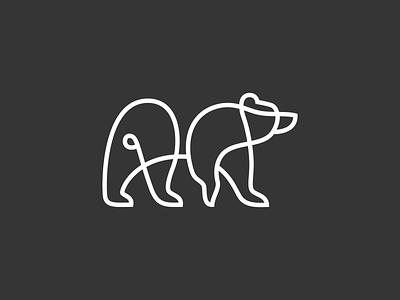 Bear logodesigner simple minimal identity logos animals one flat abstract illustration mark branding vector design art line icon logo animal bear