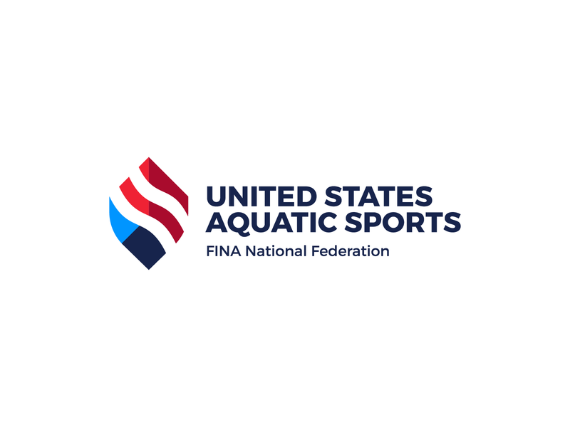 USAS Logo waves games olympic united states olympic flame swimming pool fire american flag minimal icon logo designer world federation water diving swimming identity logo sports aquatic