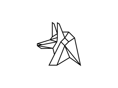 Jackal fitness sports flat animals head god logo designer idenity dog anubis minimal mark logos branding line icon logo animal wolf jackal