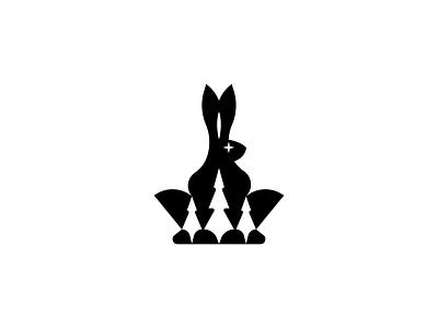 Rabbit Logo hare vector forest design logo designer branding illustration abstract logo icon negative space logo mark canada snow star conifer concept logo bunny rabbit animal