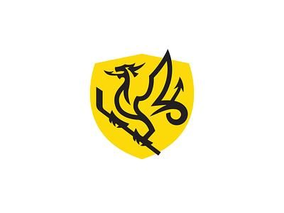 Wyvern mark wip identity design sports branding ice hockey ice redesign team club sports historical mythology shield emblem hockey stick hockey amphiptere drake dragon wyvern