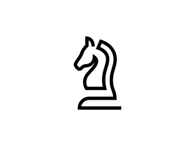 Knight Chess Piece pawn bishop king rook queen creative fun art illustration minimal silhouette set vector icon single line horse figure piece chess knight