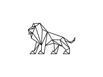 Lion animal logo modern line art nature dimensional logo designer identity line illustrative polygon polygonal 3d geometric low poly design icon mark logo animal lion
