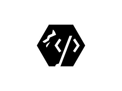 Husky Developer animal logo developer hexagon line animals logo designer minimal icon mark animal identity app website code branding logo programmer husky dog wolf