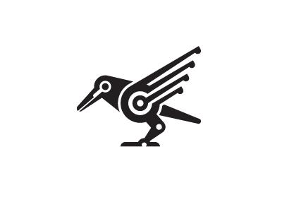 Crow shalamanov tech factory logos mark unused animal bird logo robot micro crow