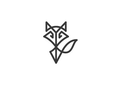 Fox  wolf shalamanov logos tail line minimal symbol logo mark unused animal fox