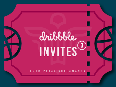 x3 Dribbble Invites invitations game giveaway designers logo ticket shalamanov tickets ball player invites dribbble