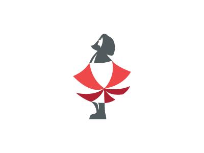 Rain Is Over illustration icon design red gray negative shape space logotype symbol brand identity branding logo rain umbrella girl