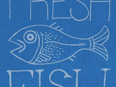 Fresh Fish blue fish illustration