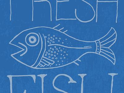 Fresh Fish blue fish illustration