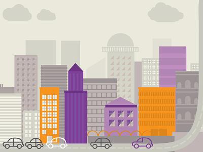 City city buildings cars