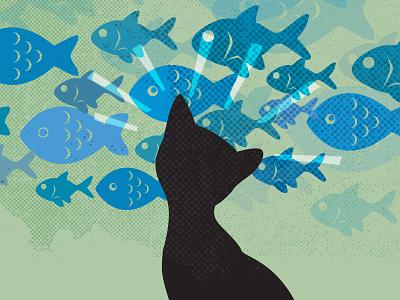 Cat Decision cat fish illustration