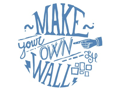 Make your own wall type lettering branding blue