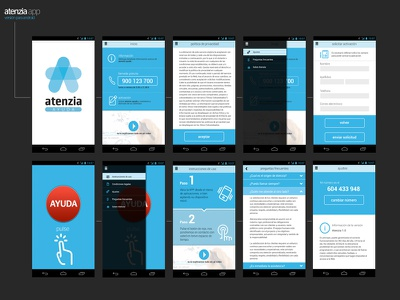 Atenzia App icons help blue app