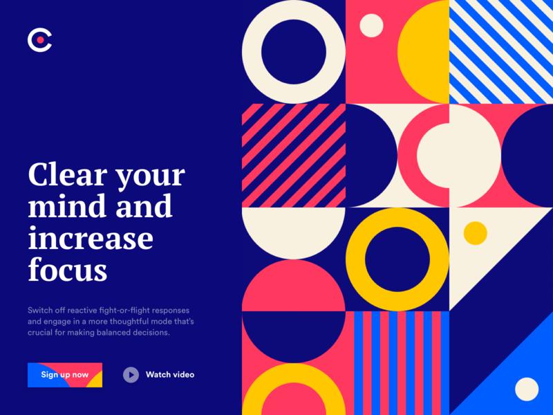 Clear Your Mind - Landing page desktop ui ux graphic design mindfulness meditate website logo typogaphy colors landing pattern