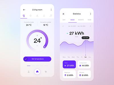 Smart Home App glassmorphism app ui ux ios gradient thermostat consumption graph stats mobile smart home smarthome statistics