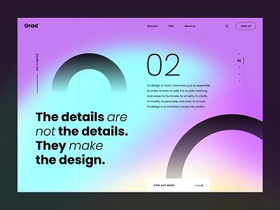 Grad. Landing page landing web app clean minimal graphic design ui ux branding typogaphy agency digital landing page gradient