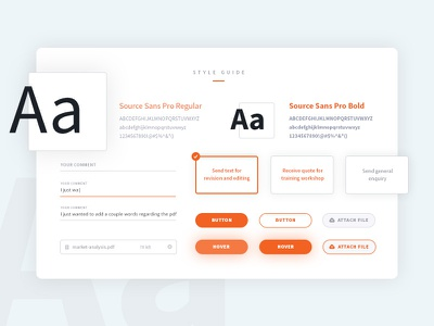 AmberWrite style guide fields typography button ui styleguide