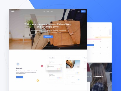Trello Atlassian - Landing Page desktop flat light redesign web landing trello ui