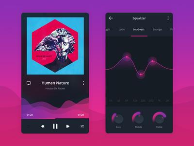 Social Music App app violet equalizer cover album music social ux ui ios mobile