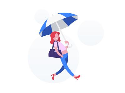 Be prepared for a rainy day flat vector rain umbrella girl character illustration