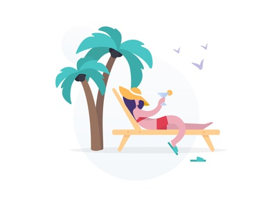 Holidays flat character illustration slippers hat cocktail girl palm lounger beach holidays