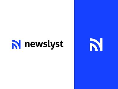 Newslyst Logo minimal blue flat news identity branding logotype logo newslyst